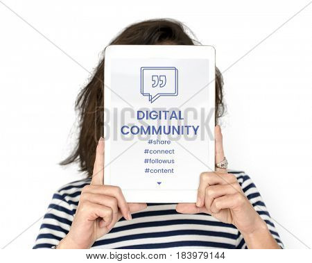Digital Community Speech Bubble with Quotation Mark