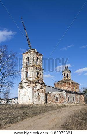 shot of the ruined abandoned christian church