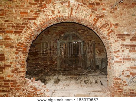 interior of the ruined abandoned christian church