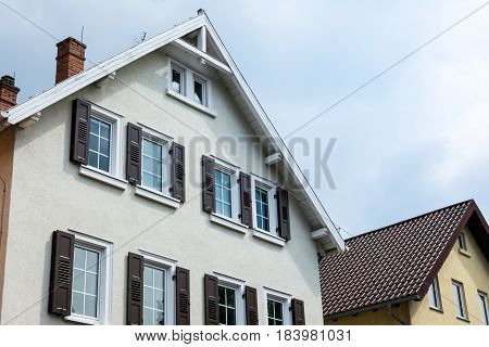 Typical European German City House Front Architecture Sky Cloudy