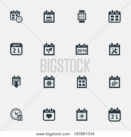 Vector Illustration Set Of Simple Plan Icons. Elements Agenda, 2016 Calendar, Intelligent Hour And Other Synonyms Winter, Day And Time.