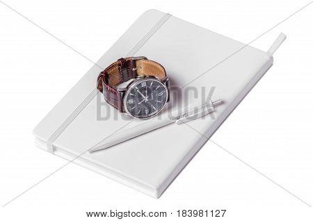 White diary on white background isolation