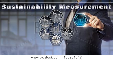Blue chip corporate manager is reporting on Sustainability Measurement. Industry and technology concept for economics and sustainability environmental statistics water management and energy sectors.
