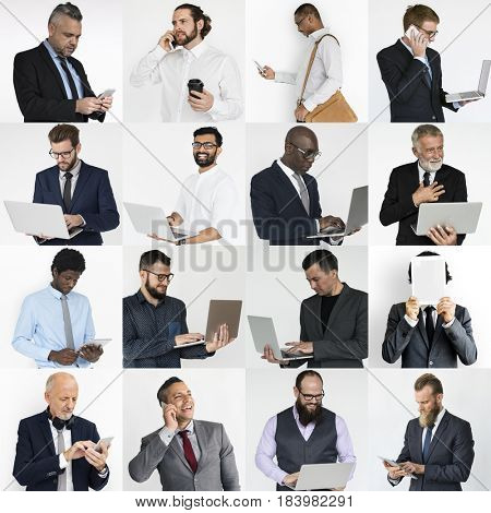 Collection of diverse people using digital devices