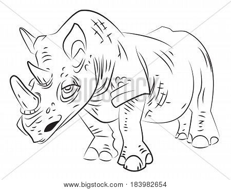 Cartoon image of rhino. An artistic freehand picture.