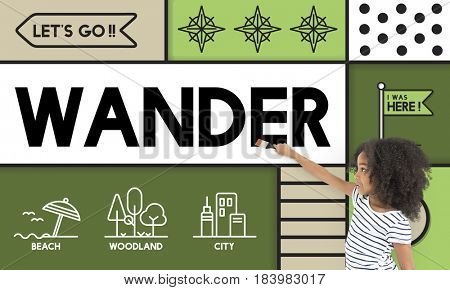 Wander wanderlust travel outdoors graphic