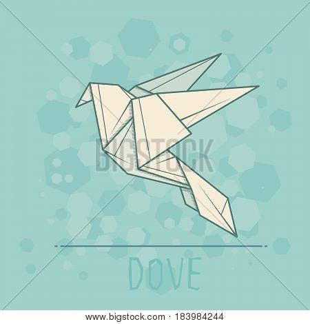 Vector simple illustration paper origami of dove.