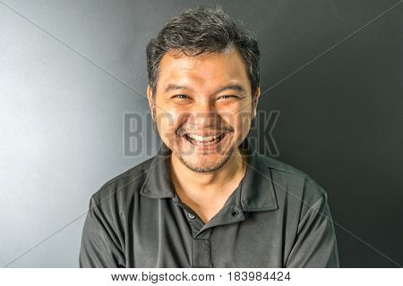 Asia Man Laughing Smile In Dark Style