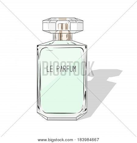 Woman perfume bottle. Vector fashion cosmetics illustration. Watercolor mint print. Beauty hand drawn fragnance decoration