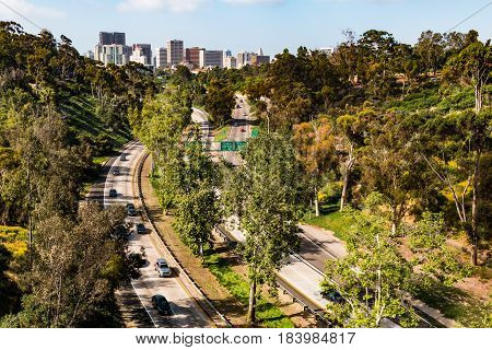 The Cabrillo Freeway (State Route 163) as it passes through Balboa Park and into the downtown area of San Diego, California.