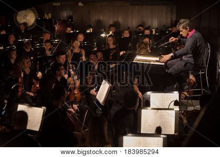 MOSCOW - JAN 25, 2017: Musicians in orchestra pit at Passenger performance in Moscow Theater New Opera