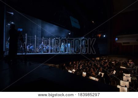 MOSCOW - JAN 25, 2017: Prisoners, turnkeys on stage and orchestra pit at Passenger performance in Moscow Theater New Opera