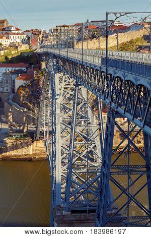 The bridge Don Luis across the Douro River. Porto. Portugal.