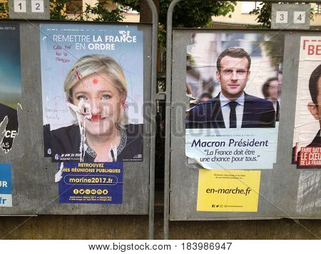 LE MANS FRANCE - APRIL 28 2017 : Two candidates who went to the second round of french presidential elections Official posters France
