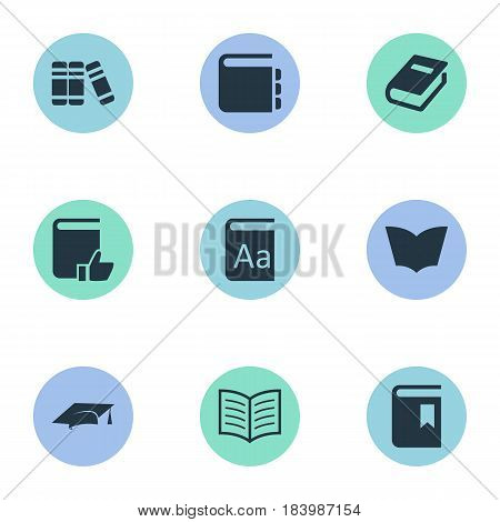 Vector Illustration Set Of Simple Education Icons. Elements Book Cover, Reading, Academic Cap And Other Synonyms Favored, Dictionary And Book.