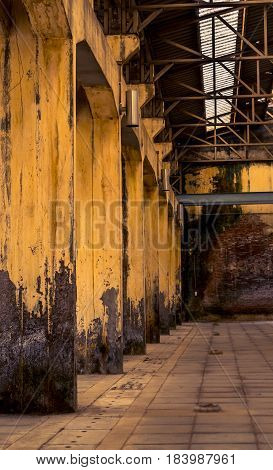 Old structural equipment storehouse ,and empty ,