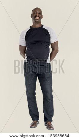 African descent man smiling studio portrait