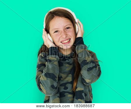 Young Adult Woman with Headphone Listen Music Studio Portrait