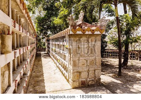 NHA TRANG VIETNAM - MARCH 19 2017: Nha Trang cemetery. This cemetery for people who died during war between Vietnam and USA