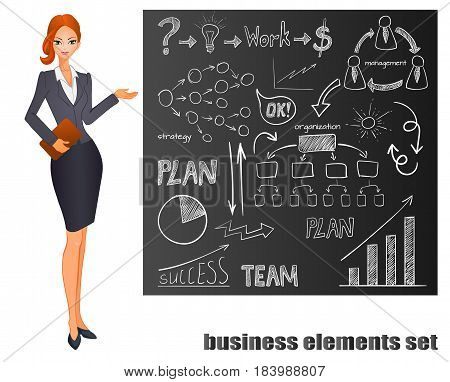 Set of business icons on chalk board. Plan, team work, graph, light bulb, money sign, hand drawn arrows, organization scheme, management system. VECTOR doodle icons and pointing redhead girl.