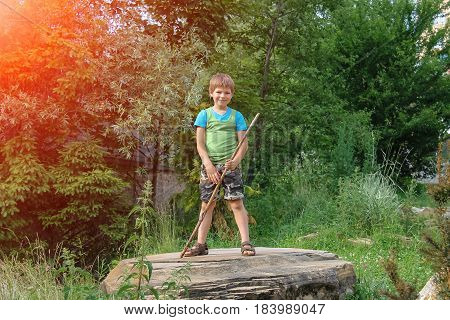 Smiling boy with stick on big stone in sunlight