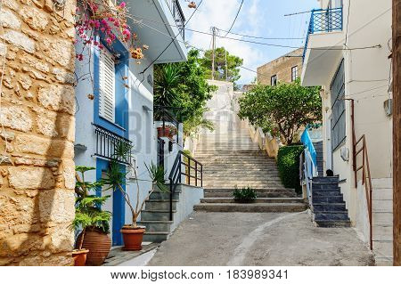Traditional Greek color street of Sitia town on Crete island