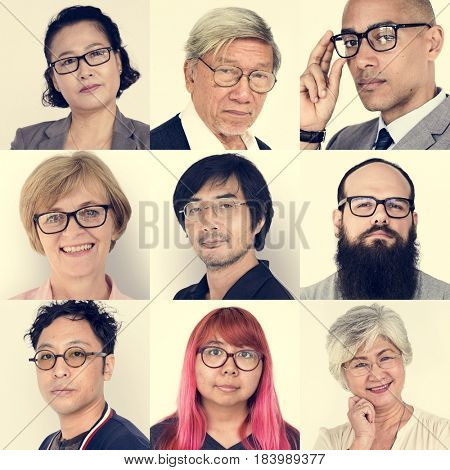 Set of Diversity People Wearing Eyeglasses Studio Collage