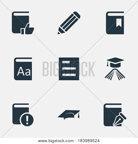 Vector Illustration Set Of Simple Education Icons. Elements Graduation Hat, Important Reading, Book Cover And Other Synonyms Document, Important And Sketchbook.