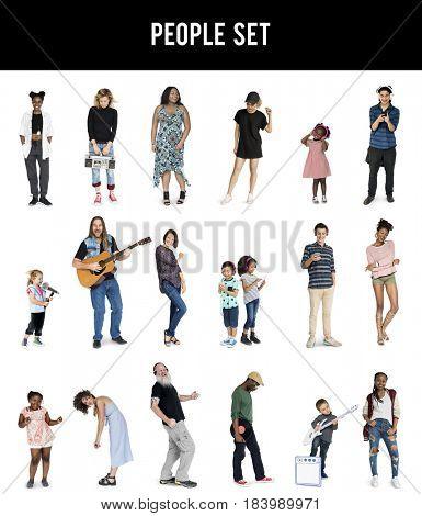 Diverse of People Enjoy Music Lifestyle Studio Isolated
