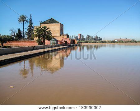 La Menara Reservoir In Marrakech In Morocco