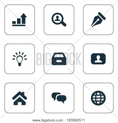 Vector Illustration Set Of Simple Job Icons. Elements Nib, Home, Magnifier And Other Synonyms Bulb, Web And Lamp.