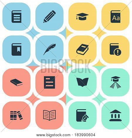 Vector Illustration Set Of Simple Knowledge Icons. Elements Reading, Notebook, Library And Other Synonyms Dictionary, Page And Graduation.