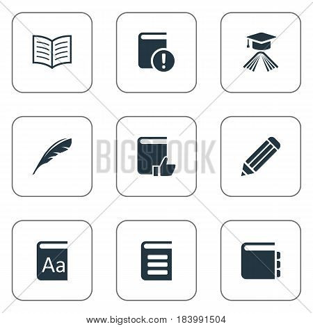 Vector Illustration Set Of Simple Books Icons. Elements Encyclopedia, Journal, Plume And Other Synonyms Graduation, Academic And Feather.