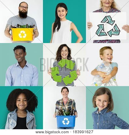 Collages diverse people with recycling concept