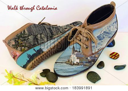 walk through Catalonia. Footwear with reminder of places visited on vacation.