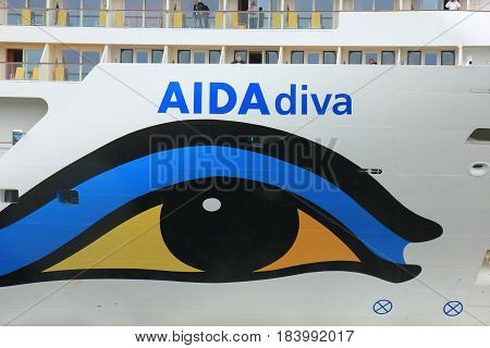 Velsen the Netherlands -April 24th 2017: Aida Diva on North Sea Canal detail of the bow