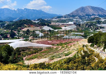 Valley with a mountains and hothouses in Spain