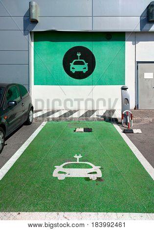 Electric vehicle charging station in southern Spain