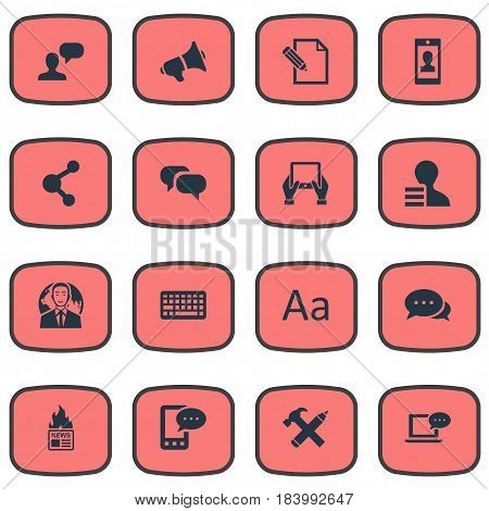 Vector Illustration Set Of Simple Blogging Icons. Elements Gain, Gossip, Laptop And Other Synonyms Hammer, Gain And Speaker.