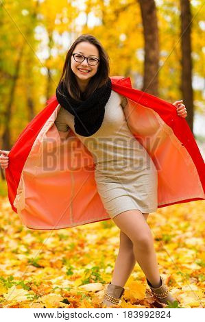 fashionable Korean girl in autumn forest outdoors