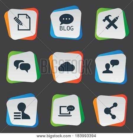 Vector Illustration Set Of Simple Newspaper Icons. Elements Man Considering, Site, Share And Other Synonyms Network, Considering And Pencil.