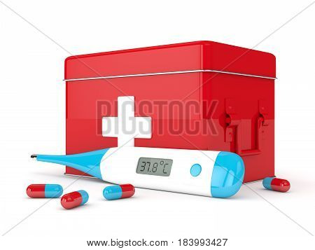 3D Render Of Thermometer, First Aid Kit And Pills
