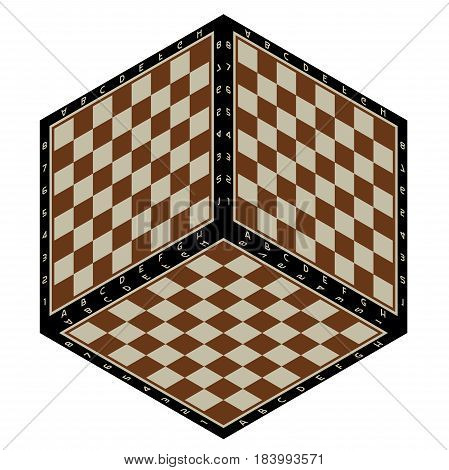 Abstract background in the form of isometric chessboard planes