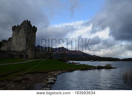 Stormy day at Ross Castle in Killarney Ireland.