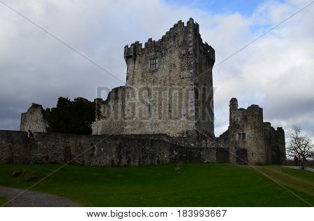 Stone castle ruins of Ross Castle in Killarney Ireland.