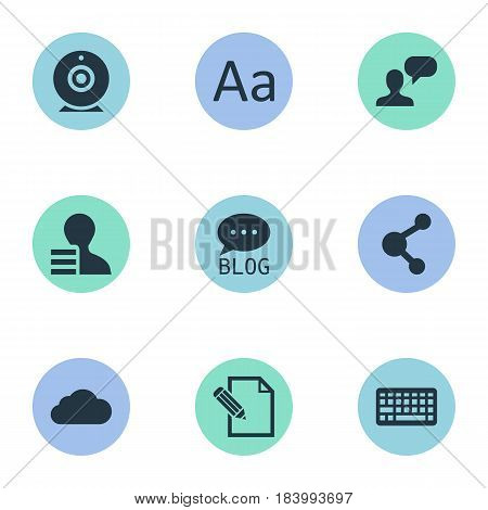 Vector Illustration Set Of Simple User Icons. Elements Site, Gain, Man Considering And Other Synonyms Considering, Share And Keyboard.