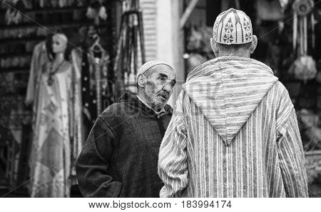 CHEFCHAOUEN, MOROCCO - FEBRUARY 19, 2017: Street life in the ancient blue Medina of Chefchaouen, Morocco