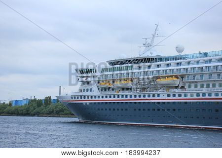 Velsen The Netherlands - April 27th 2017: Balmoral Fred Olsen Cruise Lines in North Sea Canal towards IJmuiden sealock
