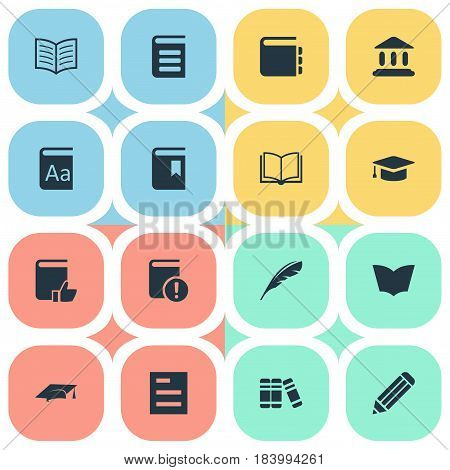Vector Illustration Set Of Simple Education Icons. Elements Library, Encyclopedia, Bookshelf And Other Synonyms Library, Notebook And Document.