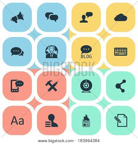 Vector Illustration Set Of Simple Newspaper Icons. Elements Site, Gazette, International Businessman And Other Synonyms Keypad, Contract And Network.